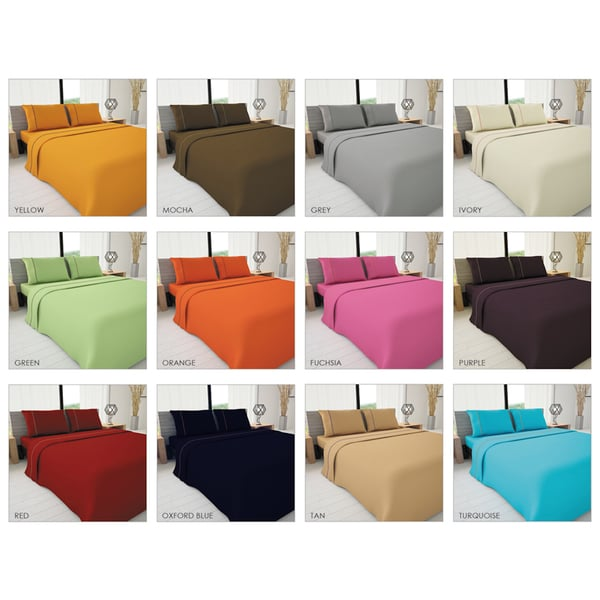 Novelty Bedding Colors of Life Solid Sheet Set with Piping Accent
