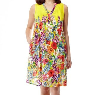 La Cera Women's Raspberry Plus-size Printed Sleeveless Dress