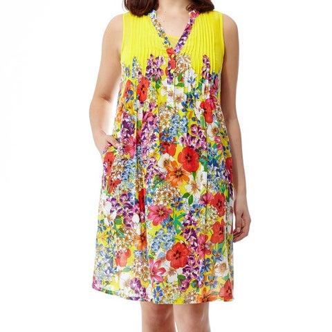 La Cera Women's Raspberry Plus-size Printed Sleeveless Dress