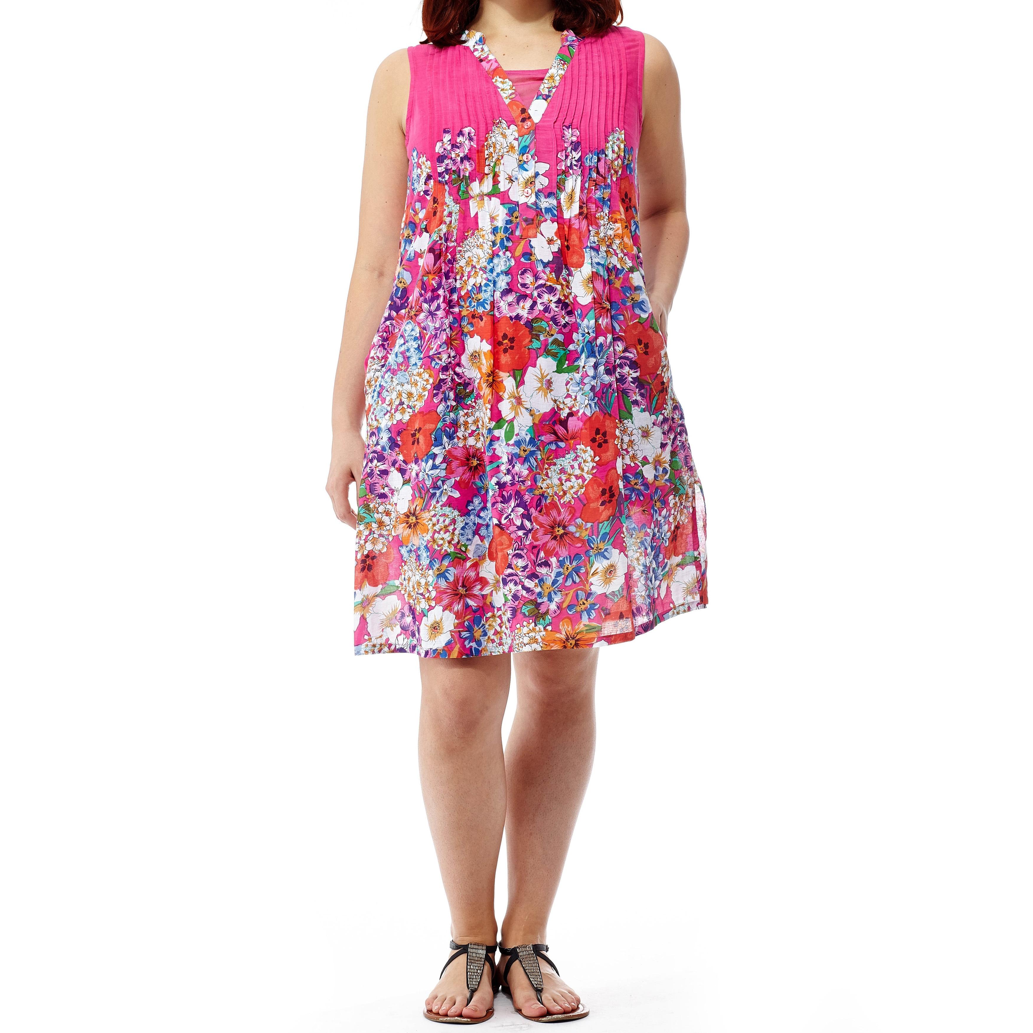 La Cera Women\'s Raspberry Plus-size Printed Sleeveless Dress | eBay