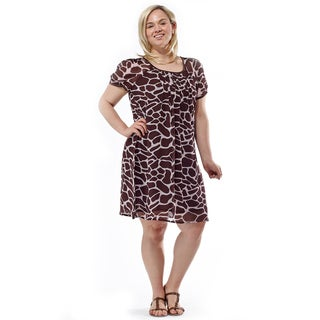 La Cera Women's Plus Size Giraffe Print Short Sleeve Dress
