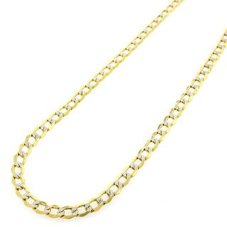 """14k Yellow Gold 4mm Hollow Cuban Curb Link Diamond Cut Two-Tone Pave Necklace Chain 20"""" - 24"""""""