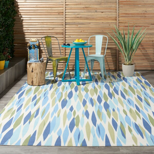 "Waverly Sun N' Shade Bits and Pieces Seaglass Indoor/Outdoor Rug - 7'9"" Square"