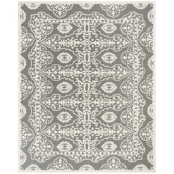 Safavieh Handmade Bella Dark Grey/ Ivory Wool Rug - 8' x 10'