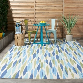 Waverly Sun N' Shade Bits and Pieces Seaglass Indoor/ Outdoor Rug by Nourison (5'3 x 5'3)