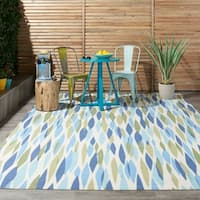 Waverly Sun N' Shade Bits and Pieces Seaglass Indoor/ Outdoor Rug by Nourison (5'3 x 5'3) - 5'3 x 5'3