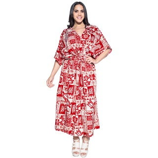 La Leela Soft Likre Turtle Kimono Long Beach Women Long Dress Kaftan Maxi Red