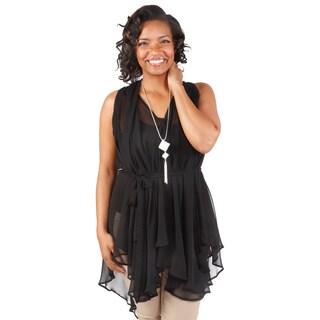 Hadari Women's Plus Size Sleeveless Asymmetrical Tunic