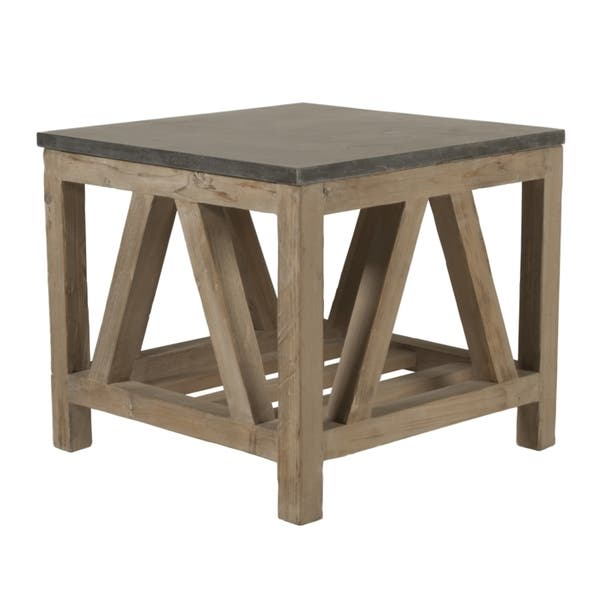 Albert Stone Brown Concrete And Wood End Table Overstock 12004106