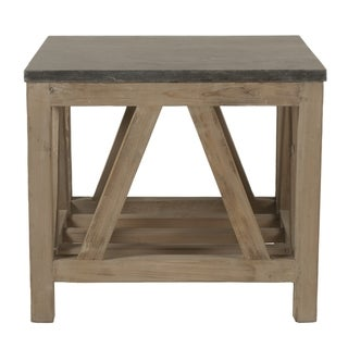 Albert Stone Brown Concrete and Wood End Table