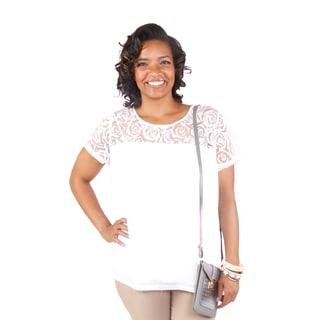 Hadari Women's Plus Size Floral Lace Short Sleeve Top
