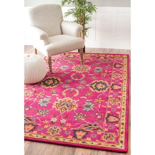 nuLOOM Handmade Overdyed Persian Wool Pink Rug (4' x 6')