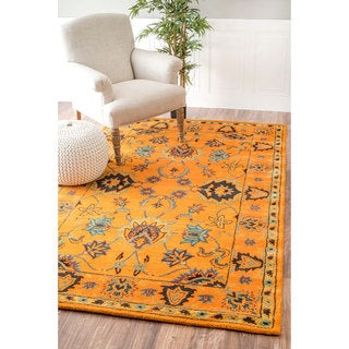 nuLOOM Handmade Overdyed Persian Wool Gold Rug (4' x 6')