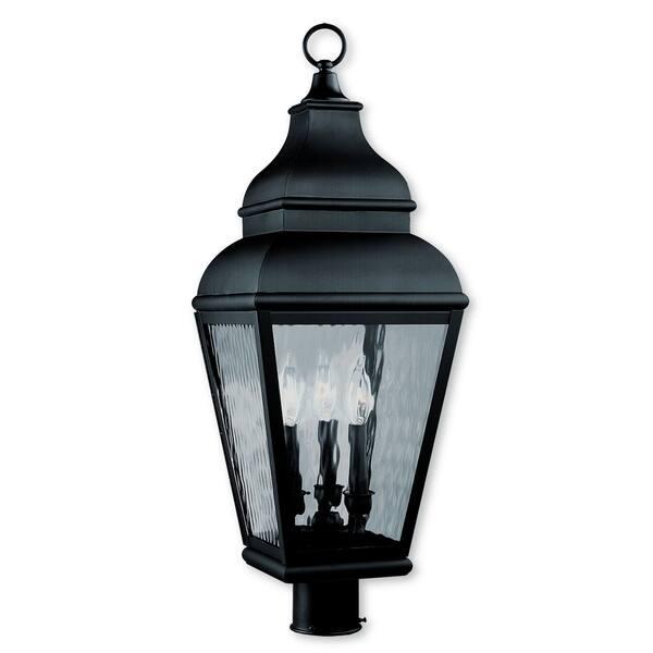 Livex Lighting Exeter Black Br 3 Light Outdoor Post Lantern