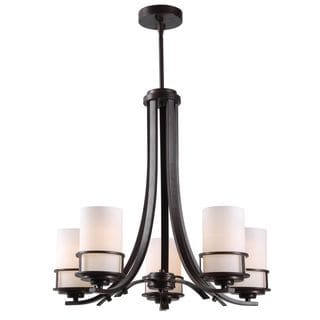 Span 5 Light Dark Aged Copper Chandelier