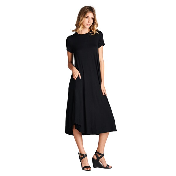 Spicy Mix Women's Aurelia Rayon Jersey Short-sleeve Midi Dress with Pockets
