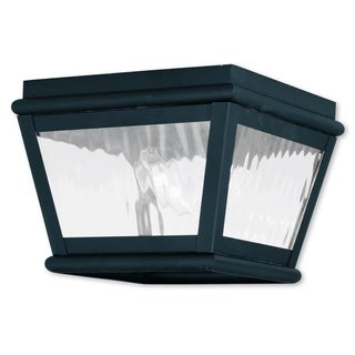 Livex Lighting Exeter Collection Black Brass 8-inch x 6-inch 2-light Outdoor Ceiling Mount