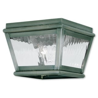 Livex Lighting Exeter Vintage Pewter 2-light Outdoor Ceiling Mount