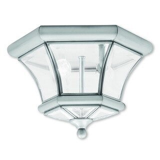 Livex Lighting Monterey/Georgetown Silver Solid Brass 2-light Outdoor Ceiling Mount Lantern