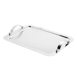 Wolff Silver Stainless Steel Large Serving Tray with Handles