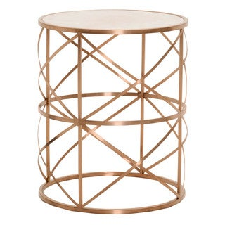 William Rose Goldtone Metal/Concrete Round End Table
