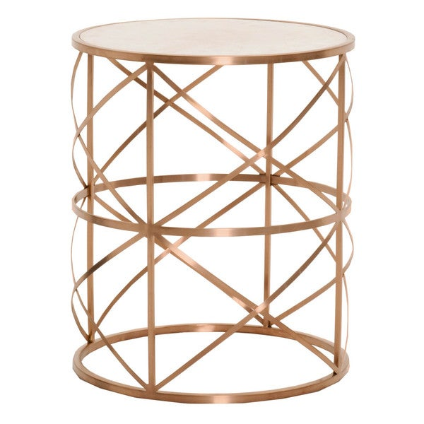 William rose goldtone metal concrete round end table free shipping