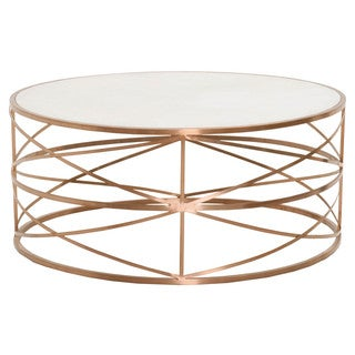 Gray Manor William Brushed Rose Gold White Stone Top Round Coffee Table