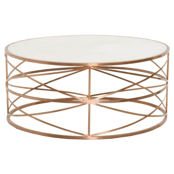 shop gray manor william brushed rose gold white stone top round coffee table free shipping. Black Bedroom Furniture Sets. Home Design Ideas