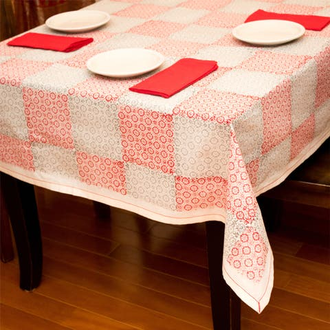 Handmade Medallion Rose Large Table Cloth (India)