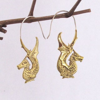 Smaug the Golden Dragon Earrings by Spirit Tribal Fusion