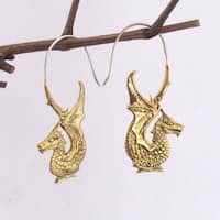 Handmade Golden Dragon Hook Earrings by Spirit Tribal Fusion (Indonesia)