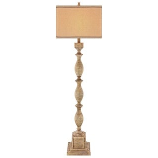 Catalina 19092-001 Brown Resin 63-1/2-inch 3-way Distressed Faux Wood Floor Lamp with Linen Hardback Shade and Bulb