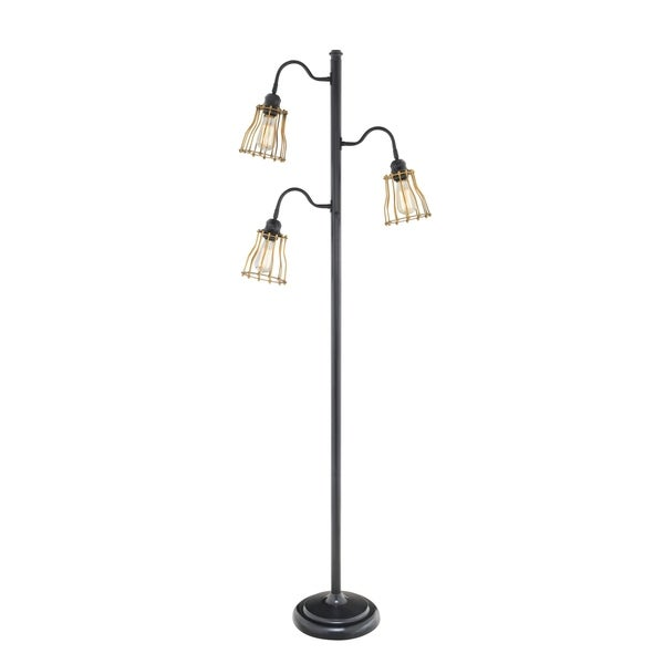 Catalina 3-light Black Metal Track Tree Floor Lamp