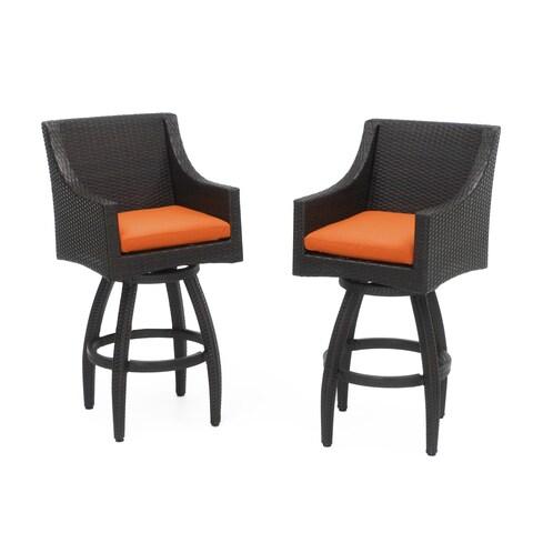 RST Brands Deco Tikka Orange Swivel Barstools (Set of 2)