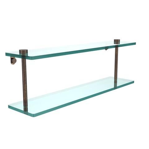 Allied Brass Black Brass/Glass 22-inch 2-tiered Glass Shelf