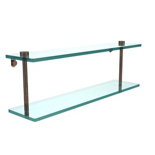 Allied Brass Black Brass/Glass 22-inch 2-tiered Glass Shelf