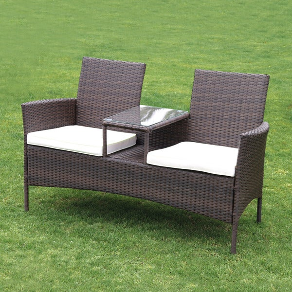 Forres Tete A Rattan Double Seater With Table Free Shipping Today 12004506