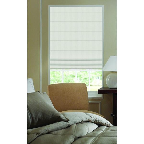 First Rate Blinds Ivory Ashton Stripe 22.5-inch Plain Fold Roman Shades