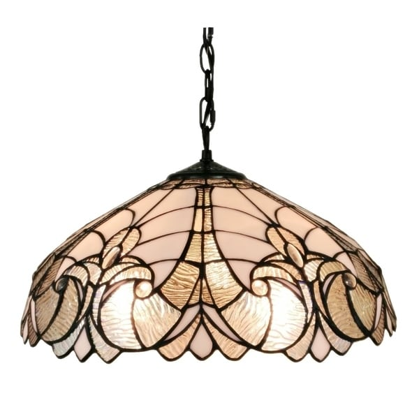 Amora Lighting White/Mahogany Floral Tiffany-style 18-inch Hanging Lamp