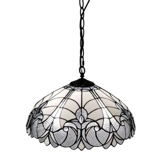 Amora Lighting AM206HL18 White/Mahogany 18-inch Floral Tiffany-style Hanging Lamp