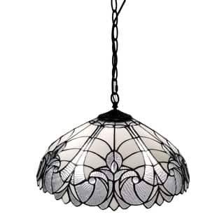 Amora Lighting AM206HL18 White/Mahogany 18-inch Floral Tiffany-style Hanging Lamp|https://ak1.ostkcdn.com/images/products/12004519/P18882107.jpg?impolicy=medium