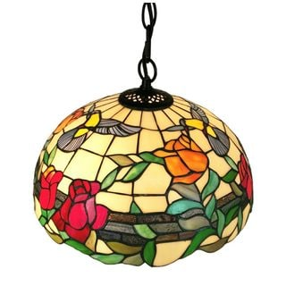Amora Lighting AM227HL16 Floral 2-light Tiffany-style Hanging Pendant Lamp