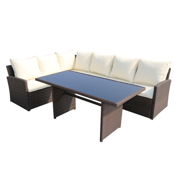 Barcelona Rattan Sofa Patio Dining Set