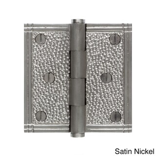 The Copper Factory CF177 Solid Cast Brass 3.5-inch Hammered Look Door Hinge