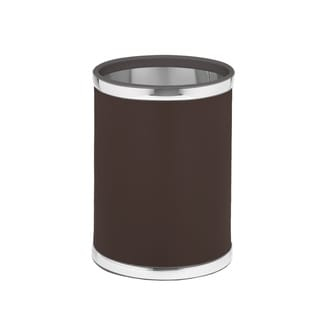 Kraftware Sophisticates Brown with Polished Chrome 10.75-inch Round Waste Basket