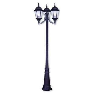 Livex Lighting Hamilton Brown Cast Aluminum 3-light Outdoor 3-headed Post Lantern