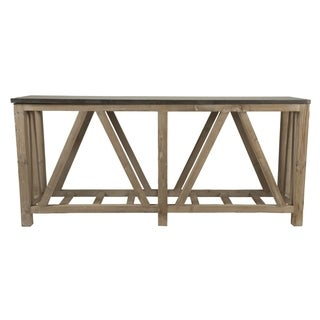 Albert Stone 8OS024.SGRY-PNE/BLU Concrete and Wood 32-inch x 18-inch x 71-inch Console Table