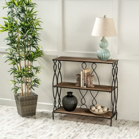 """Mia Modern Industrial 2 Shelf Firwood Bookcase by Christopher Knight Home - 33.50"""" W x 12.00"""" D x 34.00"""" H"""