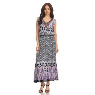 High Secret Women's Cotton and Polyester Sleeveless Geometric Maxi Dress