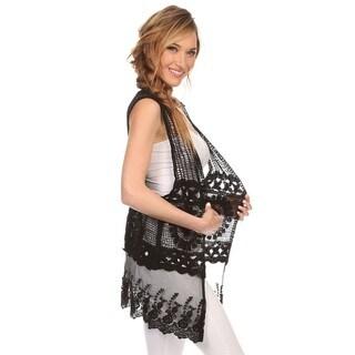 High Secret Women's Cotton Lace Crochet Open Front Vest